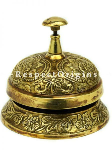 Buy Solid Brass Classic office Desk Bell with Traditional Art Work At RespectOrigins.com