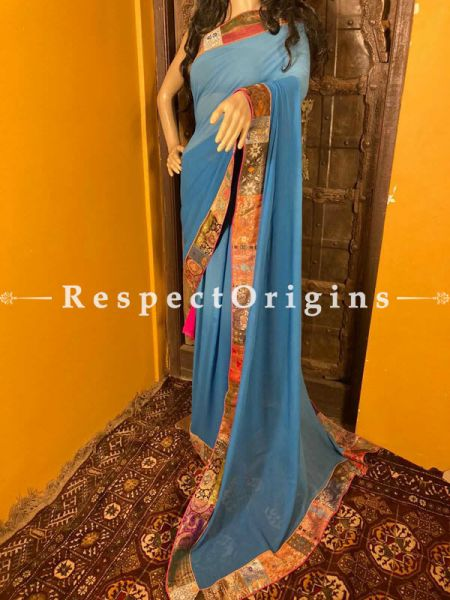 Vintage Double Blue Shaded Banarasi Border on Georgette Designer Formal Ready-to-Wear Saree; RespectOrigins.com