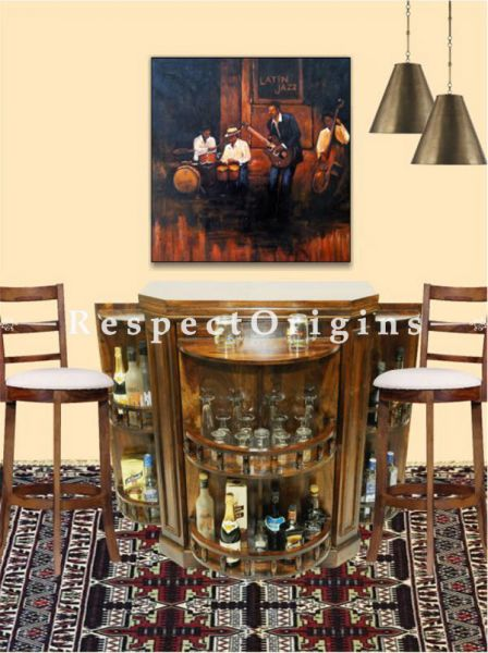 Buy Vintage Finish Wooden Bar Cabinet in Curve Shape with a Pair of Bar Stools At RespectOrigins.com