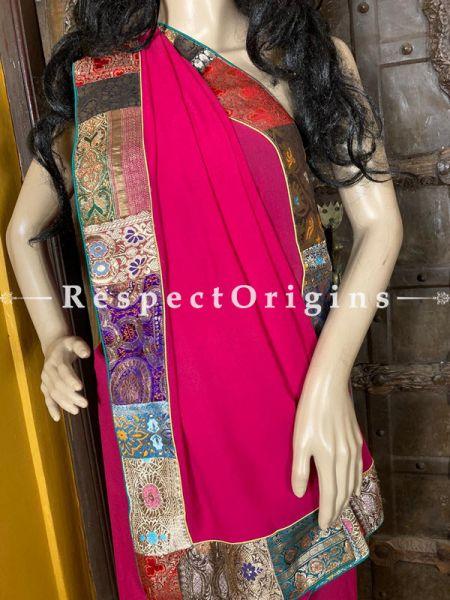 Vintage Fuchsia Pink Shaded Banarasi Border on Georgette Designer Formal Ready-to-Wear Saree; RespectOrigins.com