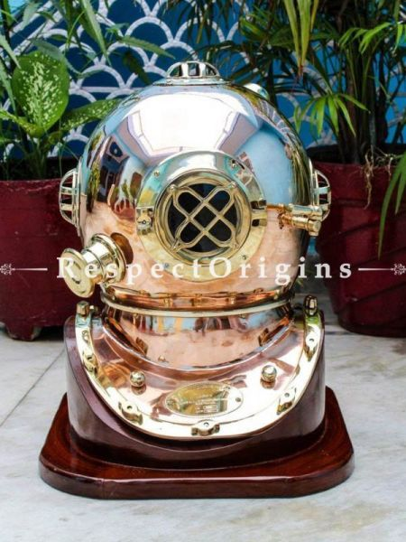 Buy 18 Inches Copper Finish Brass Helmet, US NAVY MARK V Engraved; Antique Finish; Tarnish & Scuff Resistant Polished At RespectOrigins.com