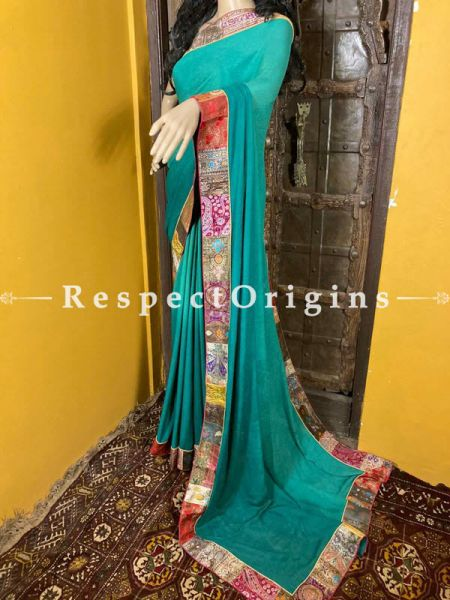 Vintage Leaf Green Shaded Banarasi Border on Georgette Designer Formal Ready-to-Wear Saree; RespectOrigins.com