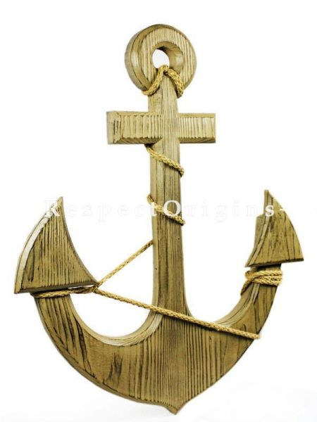 Buy Premium Pine Nautical Decor Vintage Colored Sailors Decor 12 inches Light Brown Anchor with Vintage Rope At RespectOrigins.com