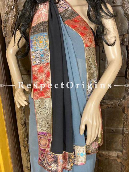 Vintage Powder Blue-Black Shaded Banarasi Border on Georgette Designer Formal Ready-to-Wear Saree ; RespectOrigins.com