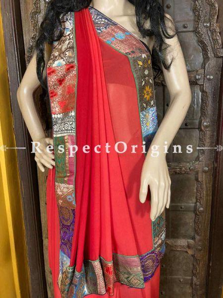 Vintage Red Shaded Banarasi Border on Georgette Designer Formal Ready-to-Wear Saree; RespectOrigins.com