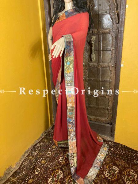 Vintage Rose Shade Banarasi Border on Georgette Designer Formal Ready-to-Wear Saree; RespectOrigins.com