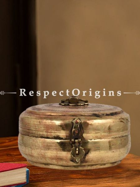 Buy Vintage Round Brass Roti, Collectibles, Keepsake Box, With Latch and Handle At RespectOrigins.com