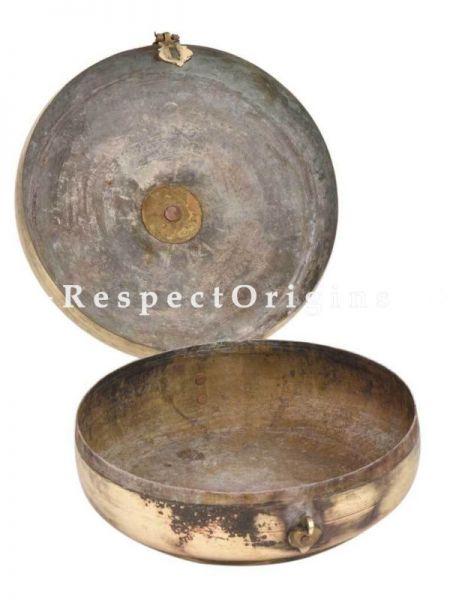 Buy Flower carved Lid Round Brass Roti Box With Handle and latch At RespectOrigins.com