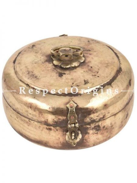 Buy Vintage Round Brass Roti Box With Floral Design And Latch At RespectOrigins.com