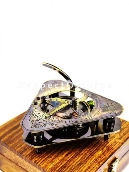 Buy Vintage Beautiful Classic Functional Triangular Compass with Anchor inlaid Rosewood Case At RespectOrigins.com