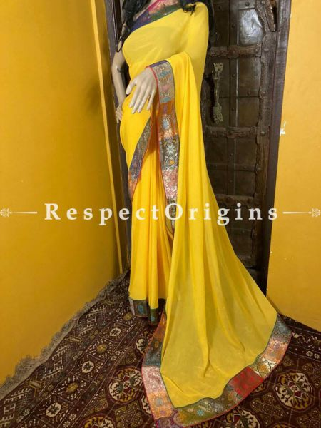 Vintage Yellow Shaded Banarasi Border on Georgette Designer Formal Ready-to-Wear Saree; RespectOrigins.com