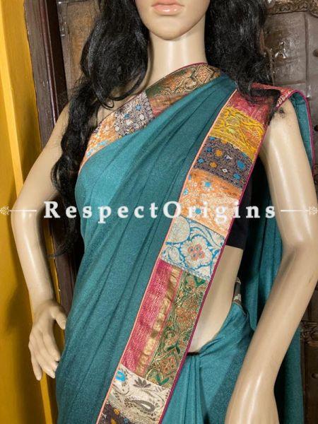 Vintage Powder Blue Shaded Banarasi Border on Georgette Designer Formal Ready-to-Wear Saree; RespectOrigins.com