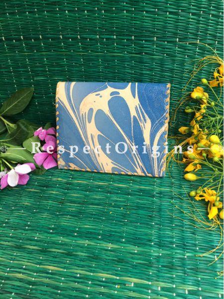 Rajasthani Leather Visiting Card Holder; Blue & Light Brown; Handcrafted Genuine Leather; RespectOrigins.com