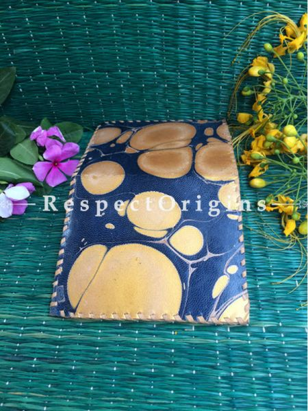 Rajasthani Leather Visiting Card Holder; Dark Blue & Light Brown; Handcrafted Genuine Leather; RespectOrigins.com