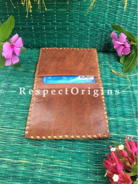 Rajasthani Brown Leather Visiting Card Holder; Handcrafted Genuine Leather; RespectOrigins.com