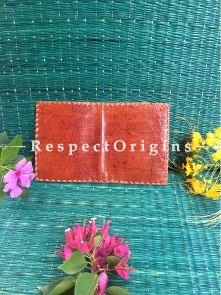 Rajasthani Leather Visiting Card Holder; Light Brown; Handcrafted Genuine Leather; RespectOrigins.com