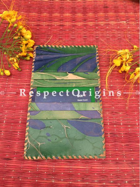 Rajasthani Leather Visiting Card Holder; Green & Blue; Handcrafted Genuine Leather; RespectOrigins.com