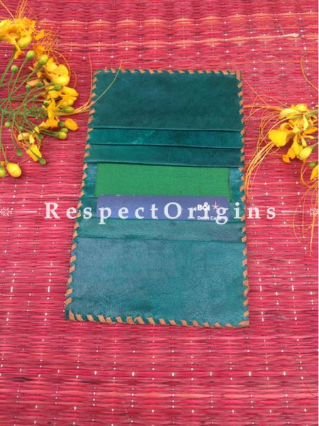 Rajasthani Leather Visiting Card Holder; Green; Handcrafted Genuine Leather; RespectOrigins.com