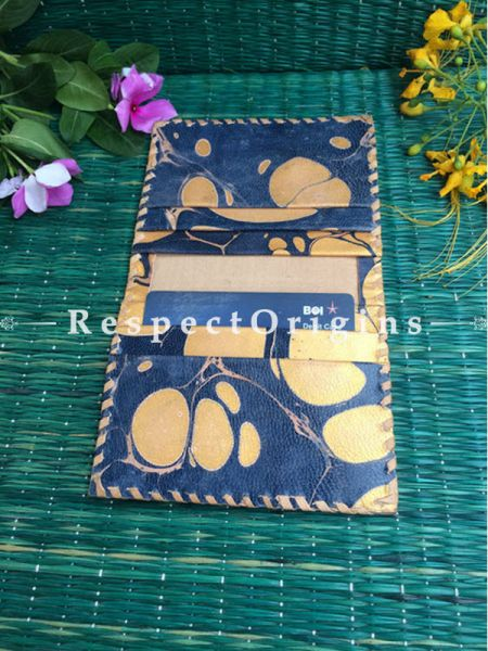 Rajasthani Leather Visiting Card Holder; Blue & Brown; Handcrafted Genuine Leather; RespectOrigins.com