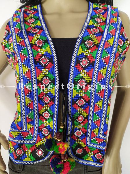 Navratri Special! Embroidered Boho Ladies Banjara Cotton Blue Koti Jackets with Ties; Freesize; RespectOrigins.com