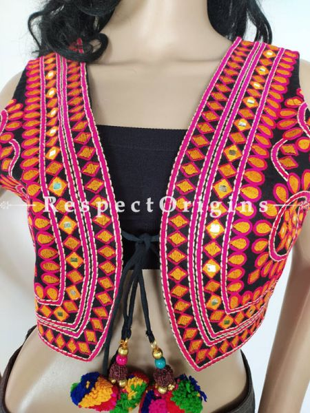 Navratri Special! Red Kutchi Embroidered Boho Ladies Gujarati Cotton Koti Jackets with Ties; Freesize; RespectOrigins.com