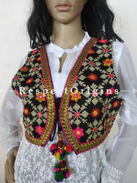 Navratri Special! Embroidered Boho Ladies Kutchi Banjara Cotton Koti Jackets with Ties; Freesize; RespectOrigins.com