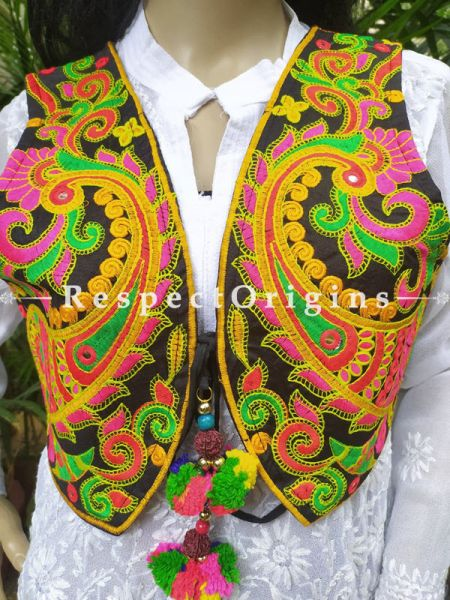 Navratri Special! Embroidered Boho Ladies Banjara Cotton Green & Mustard Koti Jackets with Ties; Freesize; RespectOrigins.com
