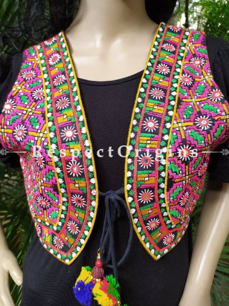 Navratri Special! Embroidered Boho Ladies Cotton Banjara Koti or Waistcoats with Ties; Freesize; RespectOrigins.com