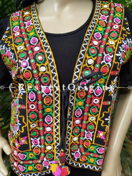 Navratri Special! Embroidered Boho Kutchi Ladies Cotton Koti or Waistcoats with Ties; Freesize; RespectOrigins.com