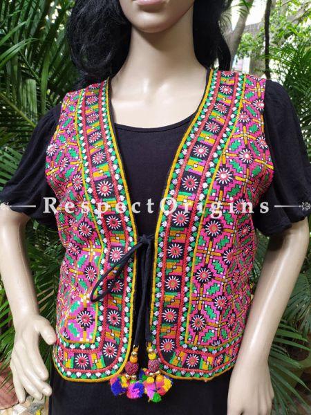 Navratri Special! Kutchi Banjara Embroidered Boho Colourful Waistcoats with Ties; Freesize; RespectOrigins.com