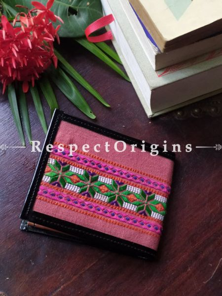 Pink with Green and White One-of-a-kind Handcrafted Suf Embroidered Wallets; height 3.5  Inches x width 9 Inches