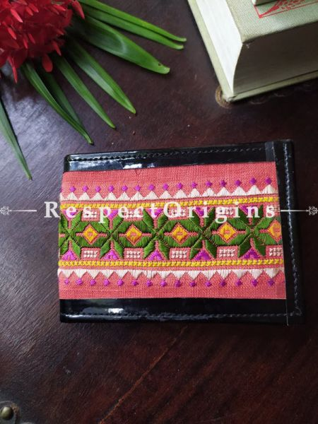 Pink with Green One-of-a-kind Handcrafted Suf Embroidered Wallets; height 3.5 Inches x width 9 Inches