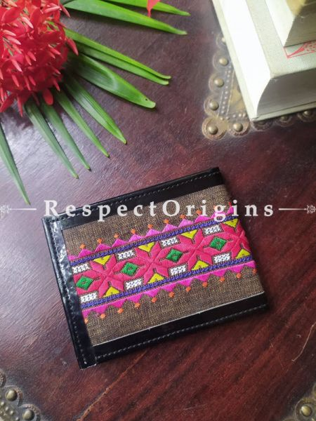 Brown with Pink One-of-a-kind Handcrafted Suf Embroidered Wallets; height 3.5 Inches x width 9 Inches