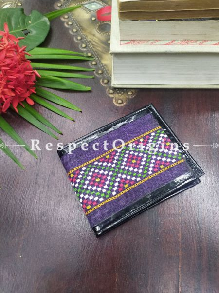 Blue with Geometrical Design One-of-a-kind Handcrafted Suf Embroidered Wallets; height 3.5  Inches x width 9 Inches