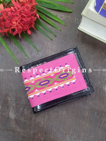 Pink With Pink One-of-a-kind Handcrafted Suf Embroidered Wallets; height 3.5  Inches x width 9 Inches