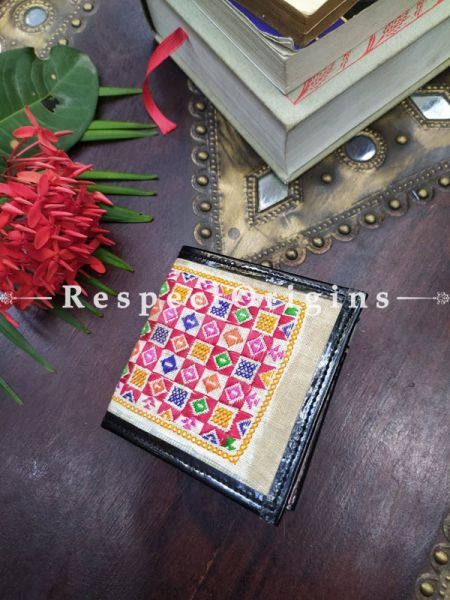 Brown One-of-a-kind Handcrafted Suf Embroidered Wallets; height 4 Inches x width 9 Inches