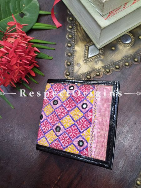 Pink One-of-a-kind Handcrafted  Suf Embroidered Wallets; height 4  Inches x width 9 Inches