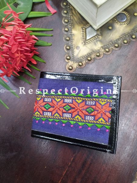 Blue One-of-a-kind Handcrafted Suf Embroidered Wallets; height 3.5  Inches x width 9 Inches