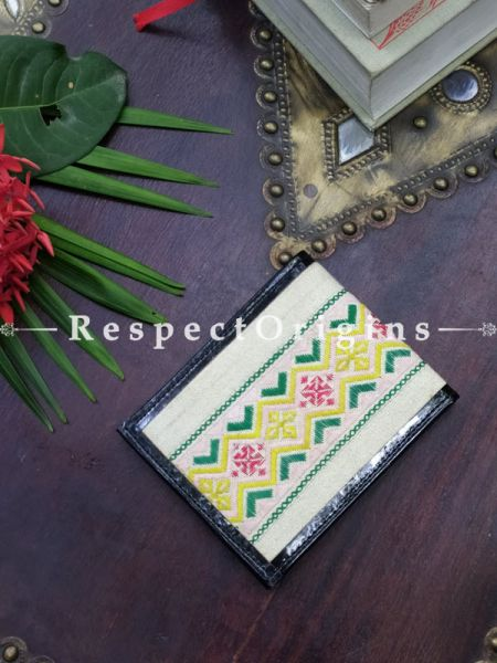 White on Yellow One-of-a-kind Handcrafted Suf Embroidered Wallets; height 4 Inches x width 9 Inches