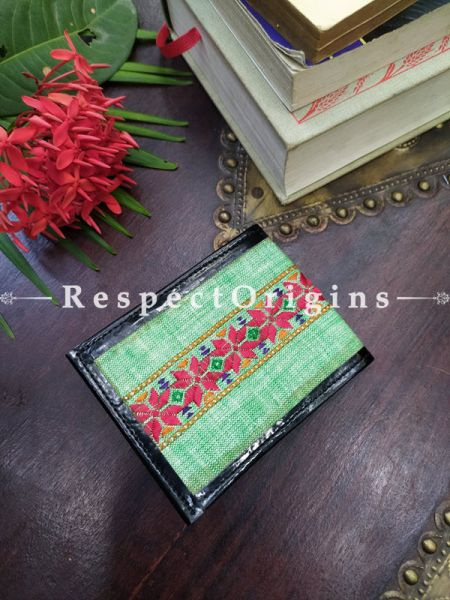 Green One-of-a-kind Handcrafted Suf Embroidered Wallets; height 3.5  Inches x width 9 Inches