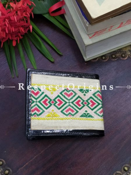 White One-of-a-kind Handcrafted Suf Embroidered Wallets; height 3.5 Inches x width 9 Inches
