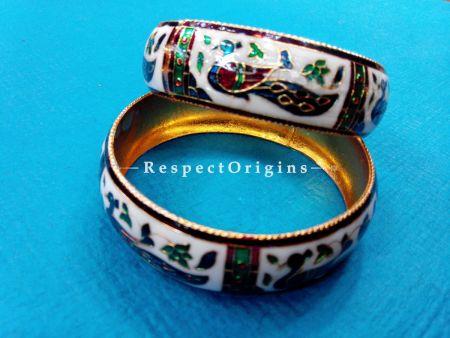 White base Minakari Bangles; Copper Alloy, RespectOrigins.com