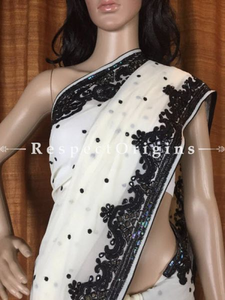 White Georgette Parsi Saree, RespectOrigins.com