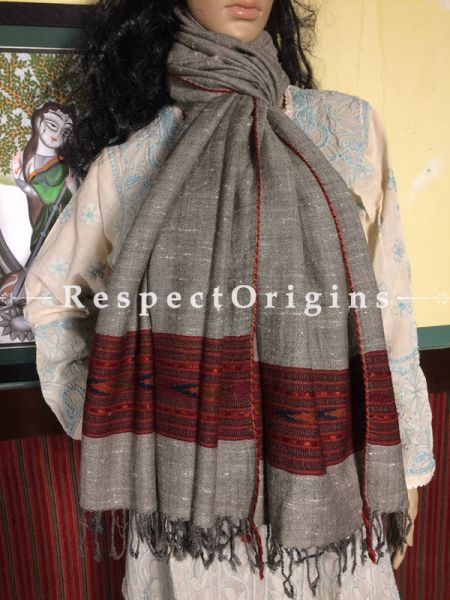 Buy White Hand woven Woolen Kullu Stoles From Himachal with red borders; Size 80 x 27 inches at RespectOrigins.com