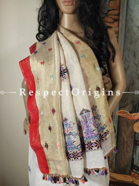 White Linen Handwoven Saree With Suf Hand-embroidery with Red and Zari Border Online at RespectOrigins.com