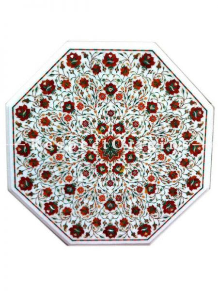 Buy Stylish Octagon Marble inlay Table Tops or Pietra Dura Circular White Marble Table Top with Jasper cornelian and Coral Semi Precious Stone; 2x2 Feet At RespectOrigins.com