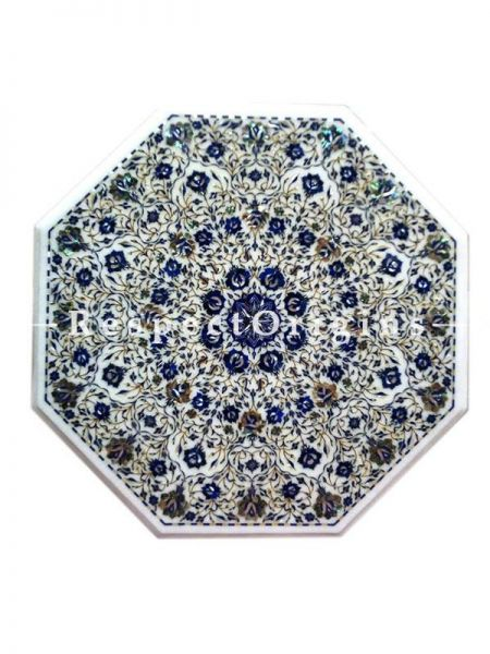 Buy Lush Octagon Marble inlay Table Top or Pietra Dura White Marble Table Top with Lapis Lazuli and Mother of Pearls Semi Precious Stone; 28x28 in At RespectOrigins.com
