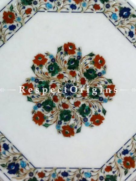 Buy Lavish Octagonal Marble inlay or Pietra Dura White Marble Table Top with Lapis Lazuli Malchite and Cornelian Semi Precious Stone; 26x26 in At RespectOrigins.com