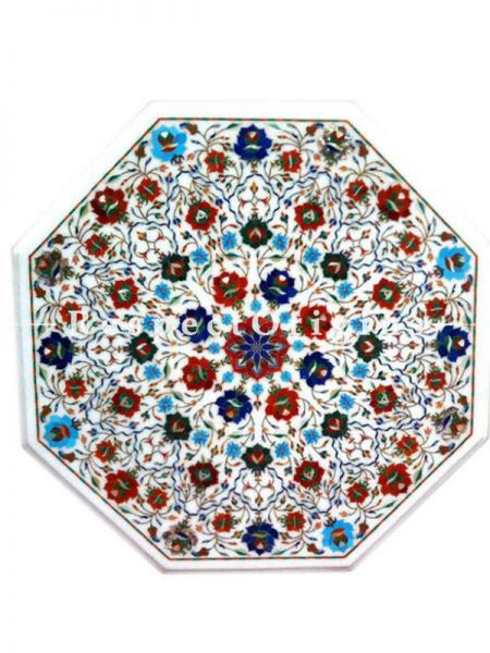 Buy Magnificent Octagon; Marble inlay or Pietra Dura White Marble Table Top with Lapis Lazuli Turquoise Coral and Malachite Semi Precious Stone; 2x2 Feet At RespectOrigins.com