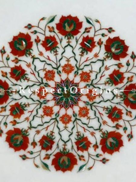 Buy Splendid Marble inlay Table Tops or Pietra Dura Round White Marble Table Top with Malchite Coral and Cornelian Semi Precious Stone; 2 Feet At RespectOrigins.com